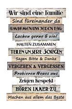 <h1><strong>Wandschild Dekoschild Familie Regeln Schild Sprüche Vintage Sha