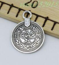 Tibetan silver charm pendant coin fit DIY Necklace 10-200pcs 23x17mm 1.4g