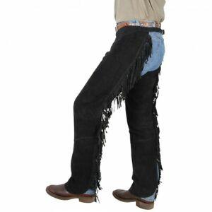 Tough 1 Black Suede Leather Shotgun Chaps w/Fringe Size Large horse tack 63-88