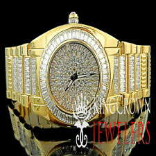 MEN'S ICED OUT 14K YELLOW GOLD FINISH DIAMOND SIMULATE BLING MASTER CUSTOM WATCH