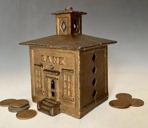 c.1872 Antique Cast Iron Still Penny Coin Building Bank: J&E Stevens Cupola Bank