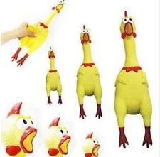 17CM Yellow Screaming Rubber Chicken Pet Dog Toy Squeak Squeaker Chew Gift 6SAC