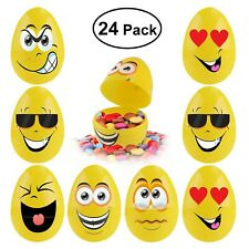 Emoji Easter Eggs with Funny Faces 24 Pieces, Egg Containers for Filling Trea.