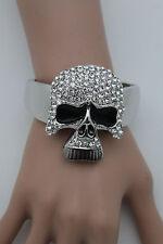 Women Silver Metal Cuff Fashion Bracelet Hand Skull Rhinestones Skeleton Charm