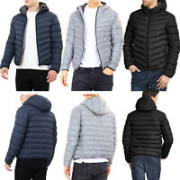 BRAVE SOUL MEN QUILTED HOODED PADDED BOMBER JACKET WARM BUBBLE PUFFER PUFFA COAT