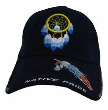 Native Pride Dream Catcher and Feather Shadow  Embroidered Hat (One Size, Navy)