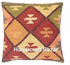 Throw Cushion Rug 18x18 Indian Kilim Decor Handwoven Pillow Case Hippie Rug