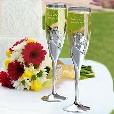 Sparkling Love Double Heart Wedding Champagne Toasting Flutes Hortense B. Hewitt