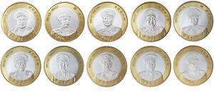 ZAMBIA 5000 KWACHA CHINESE GENERALS - SET 10 COINS BIMETAL BI-METALLIC 1997