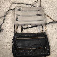 REBECCA MINKOFF LEATHER BLACK & WHITE MINI 5 ZIP CROSSBODY SHOULDER BAG LOT 2