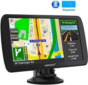 GPS 9 Pouces pour Voiture et Poids Lourds Cartes de 48 Pays européens Bluetooth