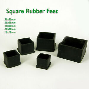 Square Rubber Chair Table Feet Furniture  End Cover Caps 20 25 30 38 40 50 60 mm