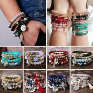 4Pcs Boho Multilayer Natural Stone Crystal Bangle Beaded Bracelet Set Wholesale