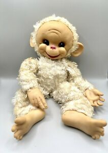 "1950's Rushton Star Creation Rubber Face White Chico Monkey Plush 15"" Well-Loved"