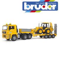 Bruder MAN TGA Low Loader Construction Truck & JCB 4CX Kids Toy Model Scale 1:16