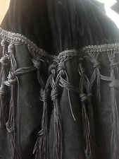 Black Leather with Velvet Braided Trim Coat Gothic Jacket Size Medium