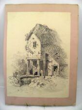 Antique 19th century English School pencil drawing rural landscape