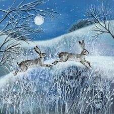 Pack of 5 Fine Art Charity Xmas / Christmas Cards - Moon, Snow & Hares - Snow