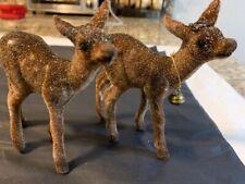 Inscha Deko Handwerk Germany #2 Flocked Reindeer Figures One w/Bell Glitter Rare