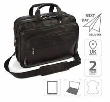"15.6"" Laptop Leather iPad Briefcase Shoulder Business Bag Black FI6703"