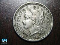 1865 3 Cent Nickel Piece    BETTER GRADE!  NICE TYPE COIN!  #B6592