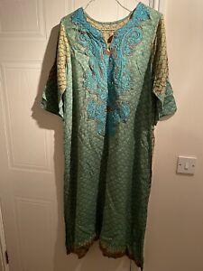 Linen Embroidered Pakistani/Indian kameez Custom Stitched XXL