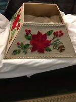 Pier One Christmas Floral Poinsettia Tree Collar Skirt Embroidered Red Flowers