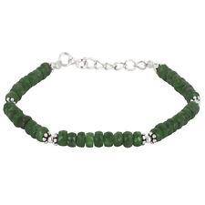 Silverly .925 Sterling Silver Green Emerald Gemstone Flower Bead Bracelet