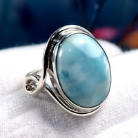 Larimar Stone Ring Solid 925 Sterling Silver Ring Promise Ring Handmade Ring 01L