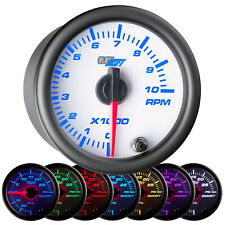 "52mm 2 1/16"" White 7 Color GlowShift Tach Tachometer Gauge w. Clear Lens"