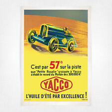 Vintage car automobile poster - A4 - Yacco 57 degrees