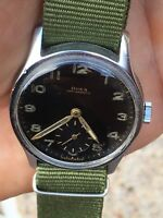 1944 Doxa Chromed Case Military Style Mens Dress Watch WW2 Era 33.3mm