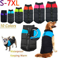 Waterproof Small/Large Pet Dog Clothes Winter Warm Padded Coat Vest Jacket S~7XL