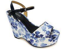 Michael Kors Women's Leonora Floral Platform Wedge Blue Floral Printed Canvas 5M