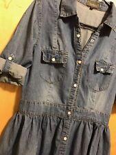Yeapica Button Up Empire Waist Denim Jean Dress Womens Juniors XL