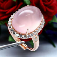 NATURAL 14 X 19 mm. CABOCHON ROSE QUARTZ & WHITE CZ RING 925 STERLING SILVER