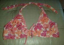 Gorgous pink peach floral halterneck bikini top size S
