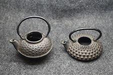 """Lot of 2 Small Cast Iron Tea Pots Miniatures 1 5/8"""" Tall & 7/8"""" Tall"""