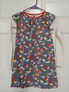 Tea Collection girls dress 8 bird print gray EUC