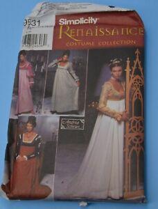 Simplicity 9531 Costume Collection Renaissance sz 14 16 18 20  FF UC