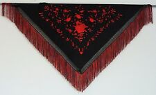 New Spanish Flamenco Shawl - Black with Red Pattern with Black and Red Fringe