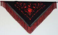 Nouveau espagnol flamenco châle-Noir avec rouge Motif Avec Rouge Et Noir Frange