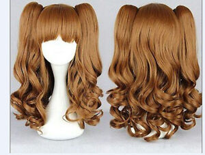 New Long Brown Split Lolita Clip On Ponytails Curly Wavy Cosplay Hair Wig 75cm