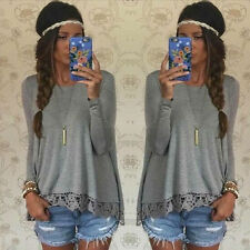 New Fashion Womens Gray Long Sleeve Blouse Casual Tank Tops Lace T-Shirt Tee