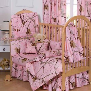 Realtree AP Pink Crib Set 7pc HD Camouflage Country Baby Girl Nursery Brown
