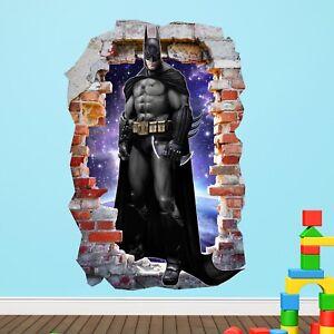 Batman Smashed Wall Sticker Long in Crack Superhero Kids Boys Girls Bedroom