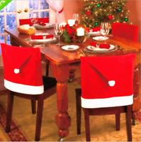 US! 2/4/6/8 PCS Christmas Santa Claus Hats Chair Cover Xmas Red Decoration