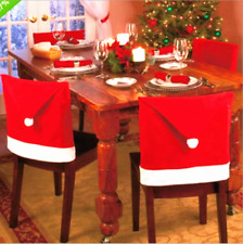 US! 2/4/6/8 PCS Christmas Santa Claus Hats Chair Cover Xmas Red Decoration