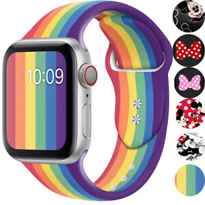 Silicone Mickey Rainbow Band Replacement Strap Belt for Apple Watch Series 54321