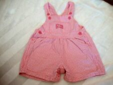 Vintage Baby BGosh Oshkosh Girls Pink Gingham Check Plaid Shortalls 18 Months